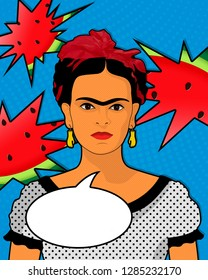 Frida Kahlo speaks speech bubble. Pop art portrait of a girl. Pin-up style. Poster for party. Welcome sign