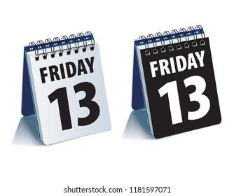 Friday 13 calendar. Realistic 3d illustration