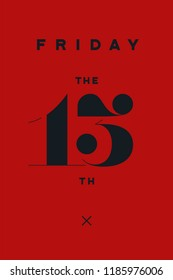 Friday the 13th. Banner and poster with text Friday the 13th. Hand drawn design in red and black color. Horror typography for party holiday 13th, Friday. Banner, poster, flyer. Illustration