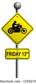 Friday the 13th motorcycle rider sign poster silhouette