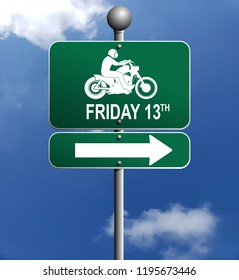 Friday the 13th motorcycle rider sign poster