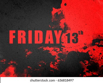 Friday 13th word on black splash and red abstract background illustration