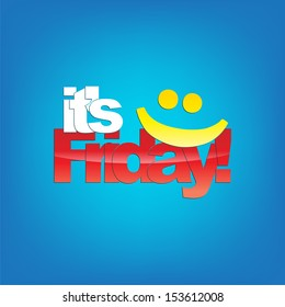 It's Friday! Yellow smiley face. Typography background. (Raster)