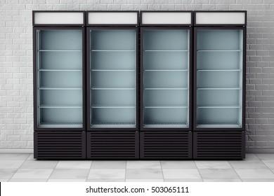 Fridges Drink with Glass Door in front of brick wall. 3d Rendering