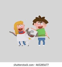 Friend, 3d illustration, pet, dog, kids