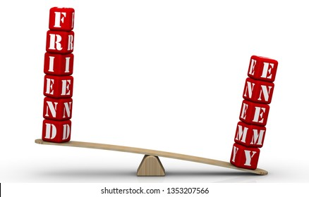 Friend-enemy balance. Enemy, but not friendThe words FRIEND and ENEMY (made from red cubes labeled with letters) are weighed in the balance. The word ENEMY outweighs the word FRIEND. 3D Illustration