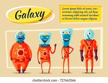Friendly aliens. Cartoon illustration. Ufo. Retro poster. Space theme. Funny monsters mutant character