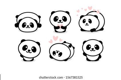 Friendly and cute pandas set. Chinese bear icons set. Cartoon panda logo template collection. Isolated illustration