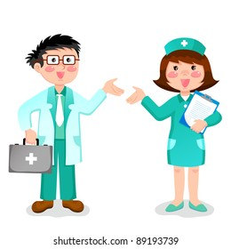 friendly doctor and nurse (raster version)