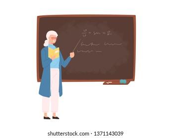 Friendly elderly female school or college teacher, professor, education worker standing beside chalkboard, holding pointer and teaching. Colorful illustration in flat cartoon style.