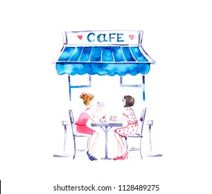 Friendly girls. Two girls sitting in cafe.