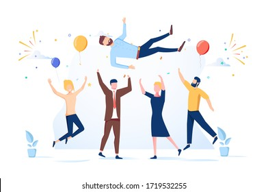 Friends Birthday Party, Business Success Congratulation. Team of Young People Tossing Up in Air Man with Confetti Flying Around. People Celebrating Victory Achievement. Flat Illustration