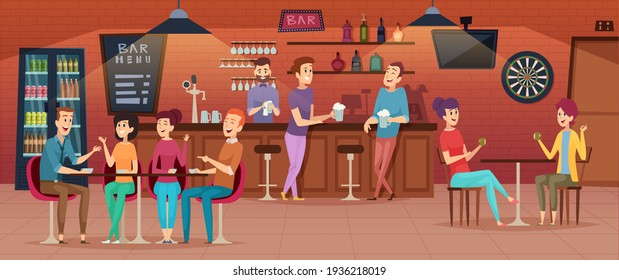 Friends cafe interior. People meeting in restaurant bar for dinner drinking eating and joking group of best friends cartoon