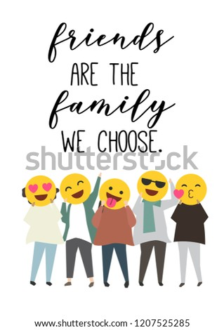 Friends Family We Choose Quote Cute Stock Illustration 1207525285