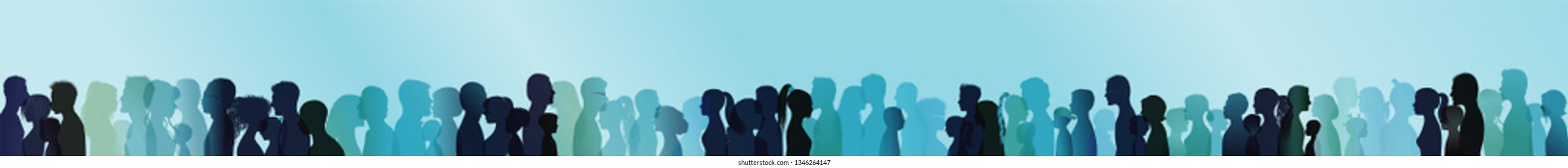 Friendship concept. Large group or team of people silhouette colored profile. Community. People talking. Face. Head. Blue multiple exposure