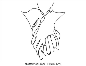 Friendship and love concept between man and woman-continuous line drawing