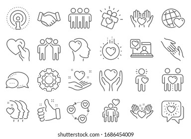 Friendship and love line icons. Interaction, Mutual understanding and assistance business. Trust handshake, social responsibility, mutual love icons. Trust friends, partnership. Line signs set.