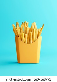 Fries box in minimal look. Isolated product. 3D rendering.