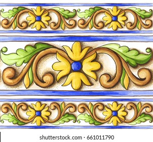 frieze-on-the-tiles-watercolor-spain-italy-Majolica-floral-ornament