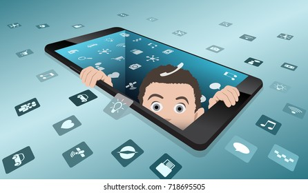 A frightened man looks out of smartphone. The return to reality from virtual reality. Minimalist smartphone with the screen, disappearing into the depths