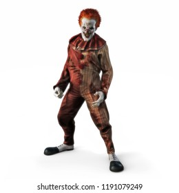 Frightening evil looking clown posing on a white isolated background. 3d rendering