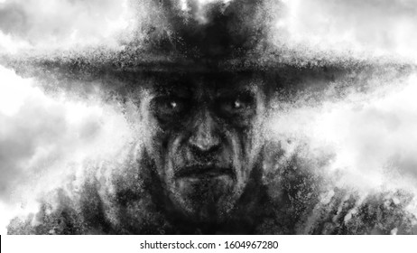 The frightening face of a man in a big hat. Black and white illustration in horror fantasy genre with coal and noise effect.