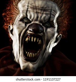 Frightening scary clown with sharp fangs piercing the darkness toward you. 3d rendering