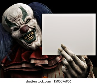 Frightening scary clown with sharp fangs piercing the darkness holding a blank advertisement card with room for your text or copy space. 3d rendering