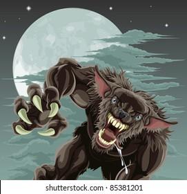 A frightening werewolf in front of moonlit sky. Halloween illustration.