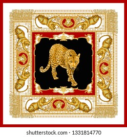 Fringed golden baroque with leopard for fabric pattern design