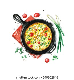 Fritata - Watercolor Food Collection