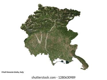 Friuli-Venezia Giulia, Italy Map (3D illustration)