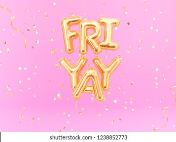 FriYay text sign letters with golden confetti. Friday celebration banner. 3d rendering