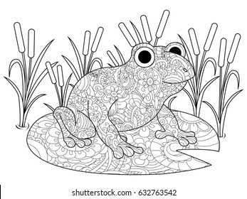 Frog on a lily in the swamp coloring book for adults raster illustration. Anti-stress coloring for adult. Zentangle style nature . Black and white lines. Lace pattern