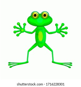a frog on a white background, with its legs spread.