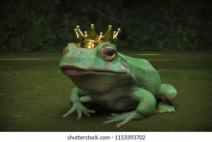 Frog prince with big ips sitting on grass 3d render
