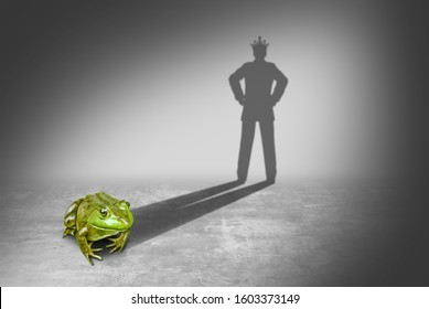 Frog prince casting a shadow of a royal prince charming wearing a gold crown representing the fairy tale concept of change from an amphibian to a young future king in a 3D illustration style.