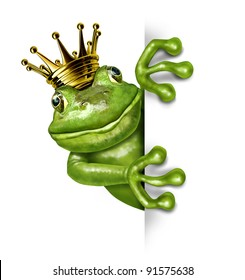 Frog prince with gold crown holding a blank vertical blank sign representing the fairy tale concept of change and transformation from an amphibian to royalty communicating an important message.