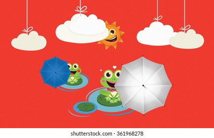 Frog with red and black umbrella in summer