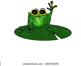frog wearing glasses and jewelries