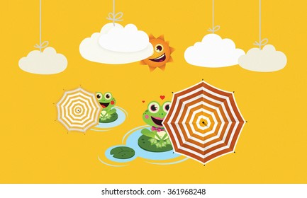 Frogs with umbrella in summer