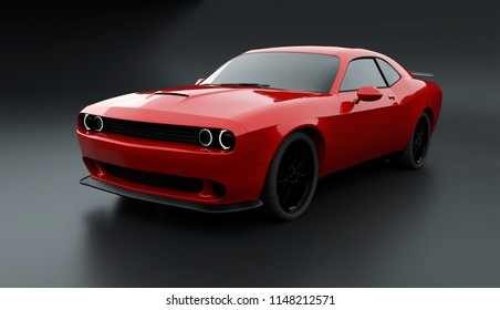Front angle view of a generic red brandless American muscle car on a grey background . Transportation concept . 3d illustration and 3d render.