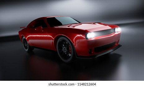 Front angle view of a generic red brandless American muscle car on a black background . Transportation concept . 3d illustration and 3d render.