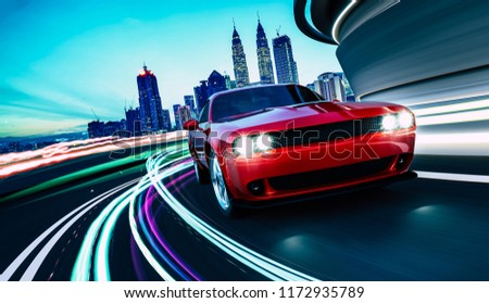 Front angle view of a generic red brandless American muscle car in a city street road  with motion blur speed light trail effect . 3D Rendering .