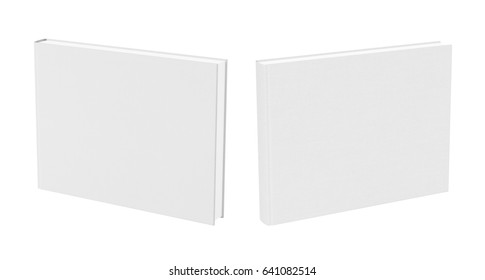 Front and back view of standing landscape white blank book cover mockup with fabric texture isolated on white background. 3d illustration