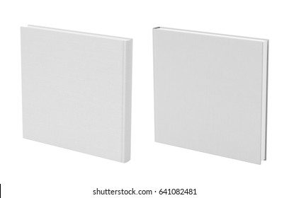 Front and back view of standing square white blank book cover mockup with fabric texture isolated on white background. 3d illustration