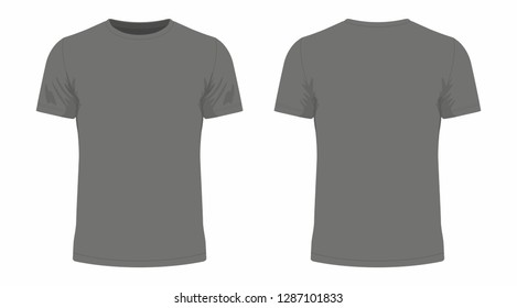 Front and back views of men's black t-shirt on white background