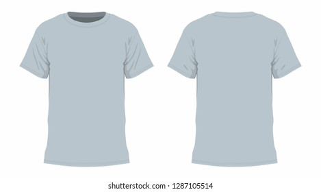 Front and back views of men's t-shirt on white background