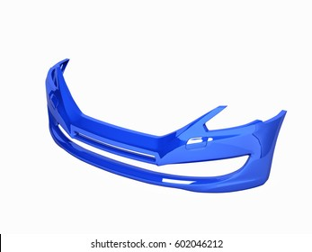 front bumper of the car without shadow on white background 3d