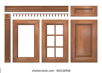 Front collection of isolated wooden doors, drawer, column, cornice for kitchen cabinet. 3D rendering